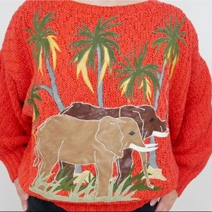 VTG Handmade Safari 🐘 Sweater w/ Leather Details